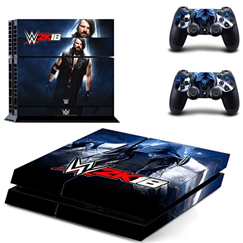 Tokaski® WWE 2K18 PS4 Designer Skin Game Console System 2 Controller Decal Vinyl Protective Covers Stickers for Sony PlayStation 4 (Wwe Skin Cover Ps4)