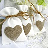 TOP QUALITY - Made of the highest quality, natural Linen fabric available on the market that can guarantee its long life and reusability. These will NEVER CRUMBLE LIKE PAPER BAGS Size: Approx. 10 x 14 cm / 3.94 x 5.51 inch The Burlap Bag Grea...