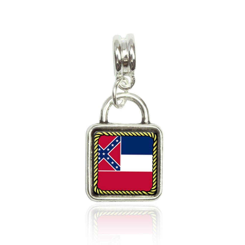 Made On Terra Mississippi State Flag Euro European Italian Style Bracelet Bead Sqr Charm