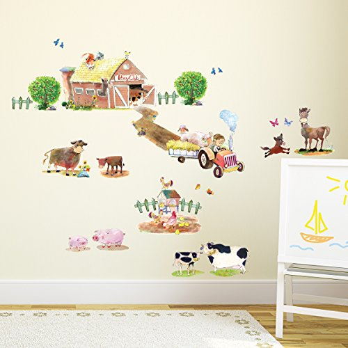 Decowall DW-1407 Pony Club & Farm Animals Peel and Stick Nursery Kids Wall Decals Stickers