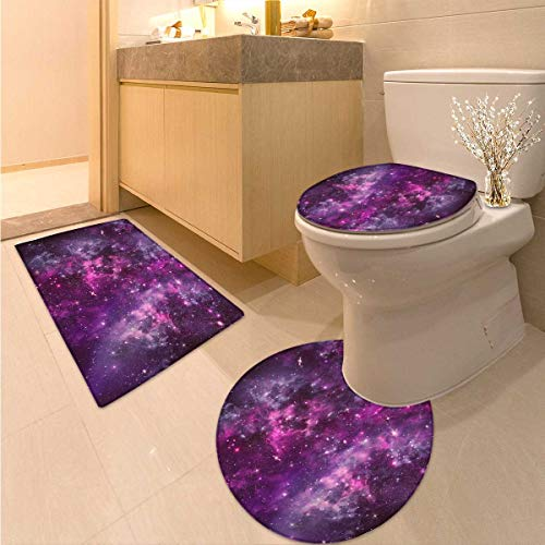 Purple Toilet Rug and mat Set Nebula Gas Cloud Deep Dark in Outer Space with Star Clusters Galaxy Infinity Solar Sky Printed Bath Rug Set Purple by Anhuthree
