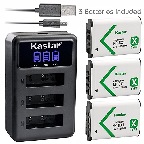 Kastar Battery x3 + Charger for Sony NP-BX1 HDR-AS200V HDR-AS30 HDR-AS300 HDR-AS50 HDR-CX240 HDR-CX405 HDR-CX440 HDR-GW66 HDR-GWP88 HDR-MV1 HDR-PJ240 HDR-PJ270 HDR-PJ405 HDR-PJ410 HDR-PJ440 DSC-HX99 ()
