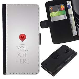SAMSUNG Galaxy S4 IV / i9500 / SGH-i337 Modelo colorido cuero carpeta tirón caso cubierta piel Holster Funda protección - Love Map Art Quote Heart Symbol Red