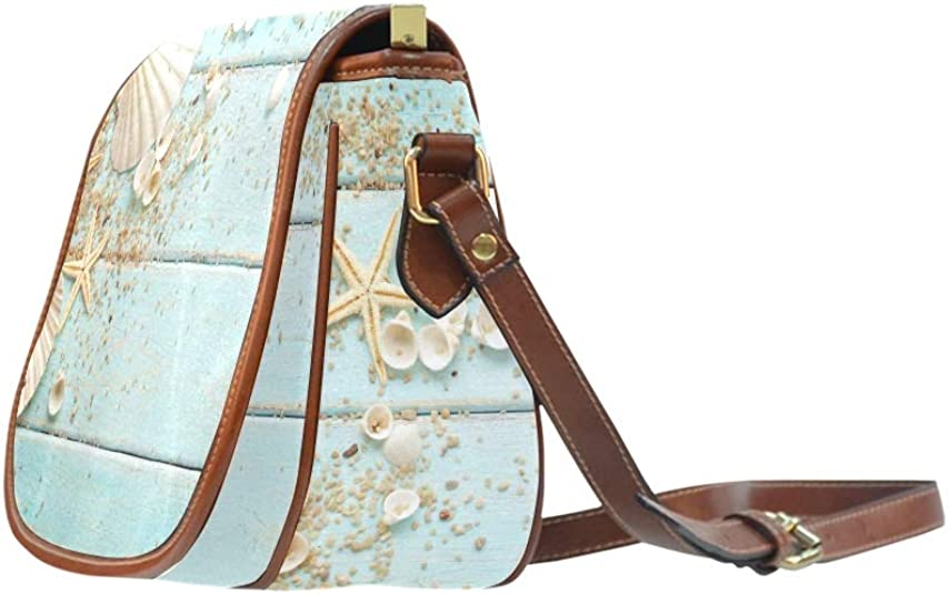 Seashells Frame On Wooden Nautical Saddle Bags Women Flap With Magnetic Snap Printed Classic Fashion Bags Shoulder Saddle Bags