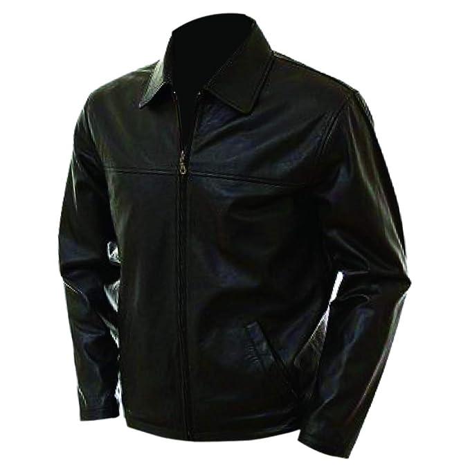 Amazon.com: Chaqueta de cuero negro oscuro Orignal para ...