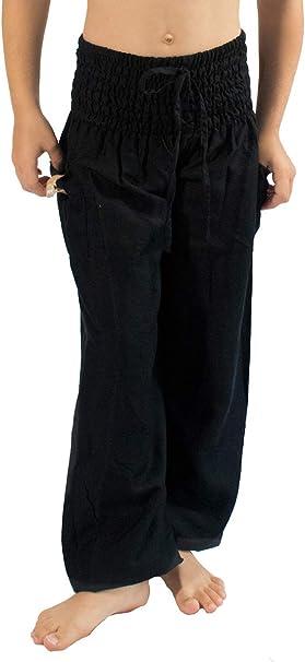 PIYOGA Girls/Boys Yoga Pants Baggy Boho Scrunched Bottom (Fits Kids Ages 6-10)