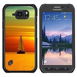 LECELL--Funda protectora / Cubierta / Piel For Samsung Galaxy S6Active Active G890A -- Puesta del sol del barco Beautiful Nature 9 --