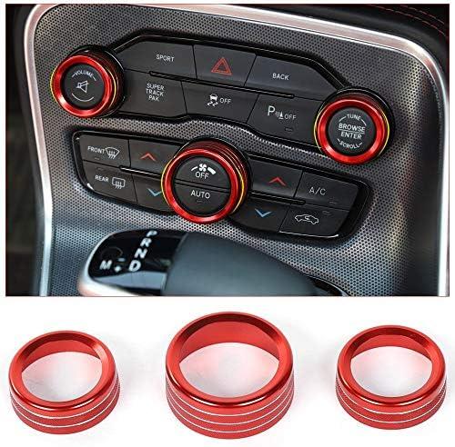 X AUTOHAUX 3pcs Red Aluminum Alloy Car AC Climate Control Ring Knob Trim Cover for Dodge Durango Challenger Charger