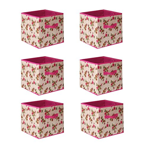 Galvanized Storage Cube - 6pcs Home Storage Box Household Organizer Fabric Cube Bins Basket Container - Beige & Pink + FREE E - Book