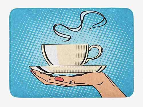 an Hand Holding A Hot Tea Cup Comic Strip Pop Art Retro Kitsch Illustration, Plush Bathroom Decor Mat Non Slip Backing, 23.6 X 15.7 Inches, Ivory Sky Blue ()