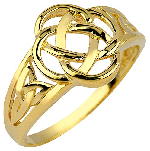 Claddagh Rings 14k Yellow Gold Ladies Trinity Triquetra Ring - Knot Gold Love Ring 14k