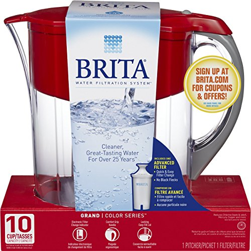 Brita Huge 10 Cup Grand Water Pitcher with Filter - BPA Free - Red