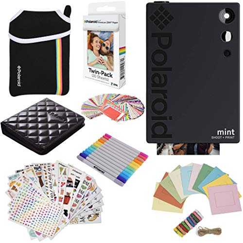 Polaroid Mint Instant Digital Camera (Black) Gift Bundle + Paper (20 Sheets) + Deluxe Pouch + 9 Fun Sticker Sets + Twin Tip Markers + Photo Album + Hanging Frames + 100 Sticker Frame Set