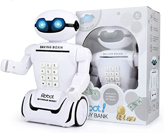 GFF Smart Robot Piggy Bank Piggy Bank Caja de depósito Lámpara de Mesa Plegable Niños Dibujos Animados Creative Password Box Piggy Bank Papel Monedas se Pueden almacenar (Blanco): Amazon.es: Hogar