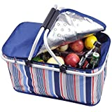 Dulcii 32L Large Family Size Insulated Picnic Basket, Waterproof BBQ Meat Drinks Cooler Bag Folding Collapsible Box for Holidays Parties Outdoor/Travel/ Grill, Blue