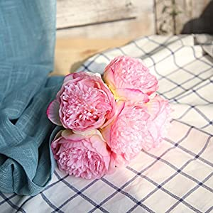 Jeash Noble Peony Floral Artificial Fake Flowers, Holding Flowers Fake Flowers for Home Garden Bridal Hydrangea for Wedding Bouquet Party Decoration Art Flower Home Furnishing Decor (Dark Pink) 26