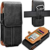 Tekcoo Phone Holster for Galaxy S9 / S9 Plus / S10 / S10 Plus / S10e / S8 / S8 Plus/Note 9 / Note 10 Plus Premium Leather Belt Clip Pouch Carrying Wallet Case w/Card Holder Slots & Keychain [Black]
