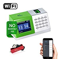 Time Clocks for Employees Small Business, Desktop Wi-Fi Biometric Fingerprint Time Attendance Terminal Clock Machine with Battery/U Disk, Office Punch Clock in with APP for iOS/Android(0 Monthly Fees)