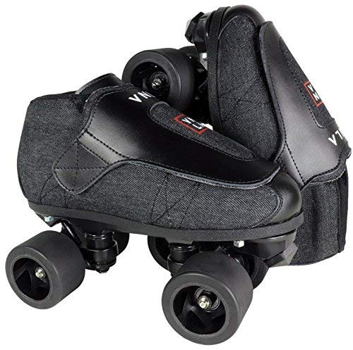 VNLA Stealth Jam Skates | Quad Roller Skates from Vanilla – Indoor Speed Skates – Denim and Leather – For Tricks and Rhythm Skating (Matte Black) by VNLA (Image #1)