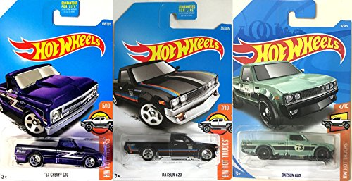 Pickup Trucks Hot Wheels Series Datsun 620 Green & Black Variants + '67 Chevy CT Purple 3-Pack in Protective Cases