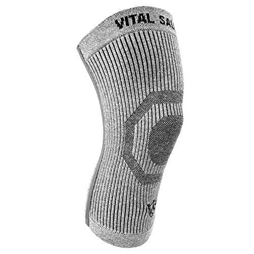 Vital Salveo-Compression Recovery Knee Sleeve/Brace S-Support, Pain Relief, Protects Joint – Ideal for Sports and Daily Wear -Light Grey (1PC) X-Large