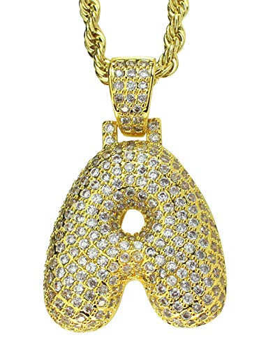 """NewAgeBling A to Z Alphabet Bubble Letter Iced Out Pendant 14k Gold Plated 24"""" Rope Chain (A Gold)"""