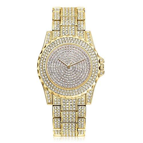 Luxury Women Watch Bling Bling Fashion Jewelry Crystal Diamond Rhinestone Ladies Watches Steel Band Round Dial Analog Clock Classic Quartz Female Charm Bracelet Dress Wristwatches (Gold) - Full Diamond Watch Band