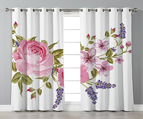 Thermal Insulated Blackout Grommet Window Curtains,Lavender,Bridal Style Garland of Rose Sakura and Lavender Vintage Artistic Bouquet Flora,Multicolor,2 Panel Set Window Drapes,for Living Room Bedroom
