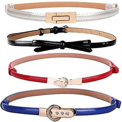 kilofly 4pc Women's PU Leather Adjustable Thin Skinny Belt Waistband Value Pack