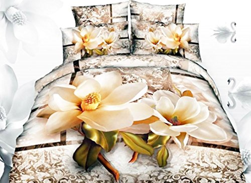 a with Paisley Flower Print 3D Bedding Sets,Duvet Cover Sets,Fitted Sheet Sets 100%Cotton 4 Pieces, 2 Pillowcases,1 Fitted Sheet and 1 Duvet/Quilt Cover,No Comforter (Queen) (Magnolia Comforter Set)