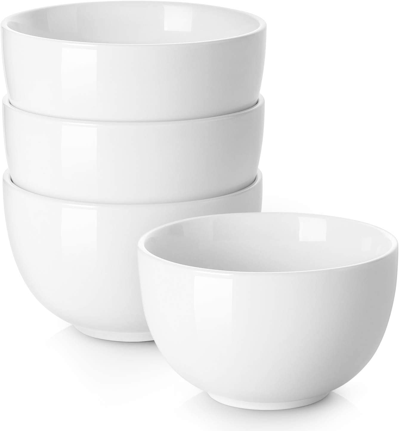 DOWAN Porcelain Bowls, 30 Oz Porcelain Bowl for Cereal, Soup, Ramen, Rice Bowls, Bowl Set of 4, White