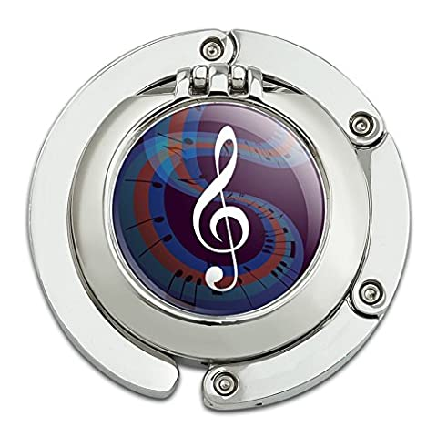 Treble Clef on Music Notes Purse Hanger Holder Hook with Compact Mirror - Clef Hanger