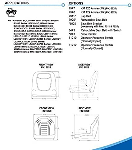 Kubota B2630 B3350 BX L2501 L3800 MX4700 MX5100 Series Tractor Seat on wiring diagram for kubota l2800, wiring diagram for kubota l3400, wiring diagram for kubota bx2200, wiring diagram for kubota bx1500,