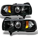 95 dodge 2500 led headlights - Dodge Ram 1500/2500/3500 Pickup Black Dual Halo Ring LED Projector Replacement Headlights Left/Right