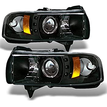 Dodge Ram 1500/2500/3500 Pickup Black Dual Halo Ring LED Projector Replacement Headlights Left/Right