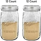 Ball Wide Mouth Quart 32 Oz. Glass Mason Jars with Lids and Bands, 12 Count - 2 Pack