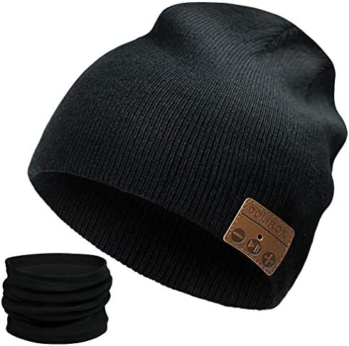 Bluetooth Beanie,Upgraded Bluetooth V5.0 Unisex Knit Wireless Cap Bluetooth Hat with Built-in HD Stereo Speakers Microphone Unique Stocking Stuffers for Men Women Boys and Girls Black