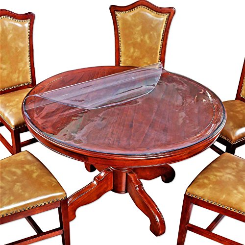 (Large Clear Round Dining Table Protector Wood Furniture Tabletop Protective Cover Clear Plastic Tablecloth Round Glass Desk Topper Chair Cursions Mat Pads Eco Polyester PVC Vinyl 48 Inch Diameter 4ft)