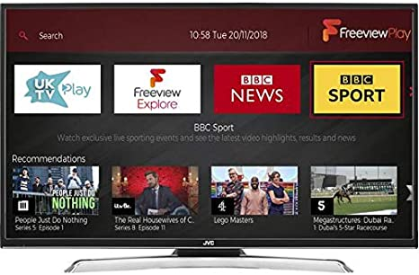 JVC 43 Inch Full HD 1080p Smart LED TV Freeview HD con TDT Play y incorporado WiFi (Catch Up TV: BBC iPlayer, reproductor de ITV, todos los 4, Mi 5, uktv Play,