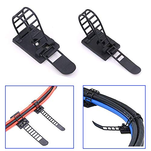 50PCS Adjustable Self-Adhesive Cable Ties SOONDAR Nylon Cable Straps Cable Organizer Kits Cord Clamp for Wire Management (2 Sizes) (Wire Strap Kit)