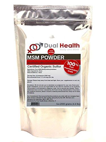 Pure MSM Methylsulfonylmethane Powder (2000g / 4.4 lb) Bulk Supplements (Msm Pure 2000)