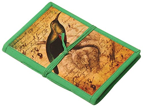 "SouvNear 8"" Nightingale Journal in Hardcover with Digital Print - Handmade Acid-Free Papers - Green Thread Closure - Vintage-Look Notebooks/Diaries/Gifts from India"