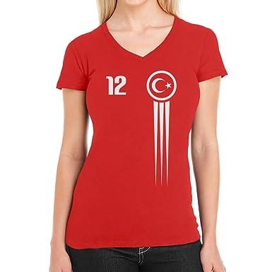 Türkei Türkiye Trikot Fanshirt WM 2018 Fanartikel EM Damen T-Shirt  V-Ausschnitt: Amazon.de: Bekleidung
