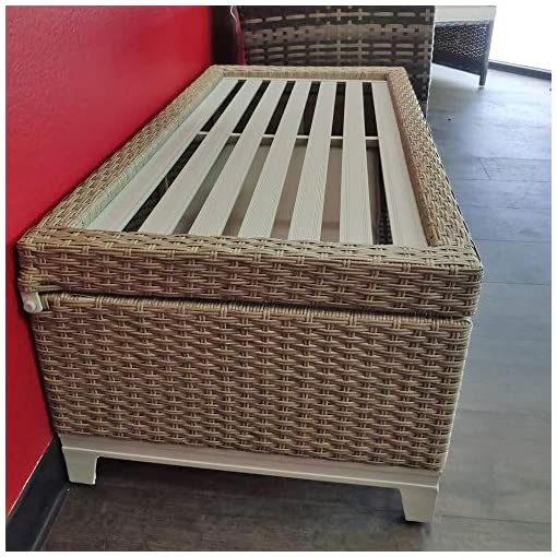 Cool Rattan Wicker Deck Storage Box Small Outdoor Storage Bench With Seat Cushion Aluminum Frame Tan Rattan And Beige Cushion Creativecarmelina Interior Chair Design Creativecarmelinacom