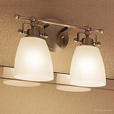 """Luxury Industrial Bathroom Vanity Light, Medium Size: 9.5""""H x 13""""W, with Traditional Style Elements, Vintage Design, Pretty Brushed Nickel Finish and Opal Etched Glass, UQL2100 by Urban Ambiance"""