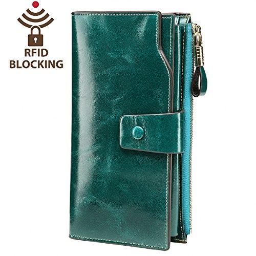 Itslife Women's RFID Blocking Large Capacity Luxury Wax Genuine Leather Clutch Wallet Card Holder Ladies Purse(Green RFID Blocking) Ladies Wallet Checkbook Holder