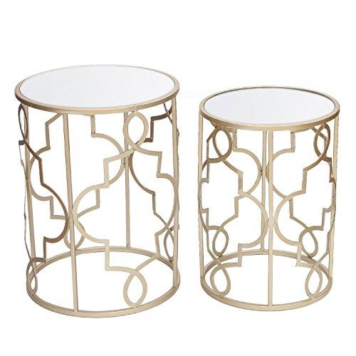 Adeco FT0126 Classic Side Set (2 Pcs)-Gold Nesting Tables,