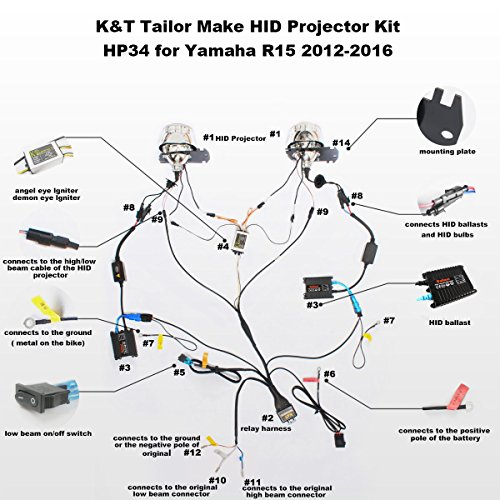 amazon com kt tailor made hid projector kit hp34 for yamaha r15 rh amazon com wiring diagram yamaha r15 Yamaha XS1100 Wiring-Diagram