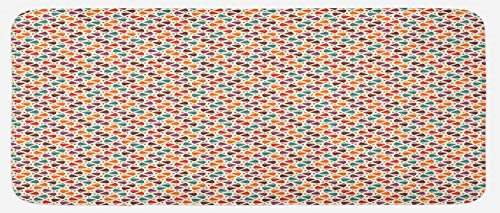 65450 Kit - Lunarable Retro Modern Kitchen Mat, Ethnic Mosaic Design Modern Style of Geometric Illustration Repeating Pattern, Plush Decorative Kitchen Mat with Non Slip Backing, 47 W X 19 L Inches, Multicolor
