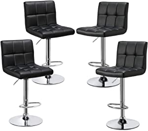 YAHEETECH Bar Stools Set of 4 - Modern Adjustable Kitchen Island Chairs Counter Height Barstools Swivel PU Leather Chair Black 30 inches,X-Large Base and Seat